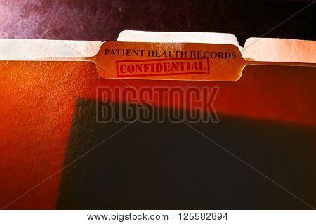 Confidential Patient Health Records folder back lit