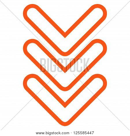 Triple Pointer Down vector icon. Style is thin line icon symbol, orange color, white background.