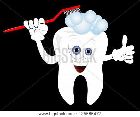 Happy tooth cleaning himself with toothpaste. Cartoonish tooth dental care vector illustration