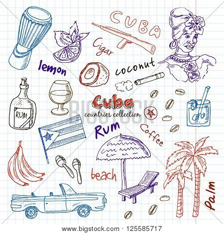 Hand drawn doodle Cuba travel set. Sketchy Icons set with Rum, palms, car, flag. Travel  Collection. Isolated vector illustration.
