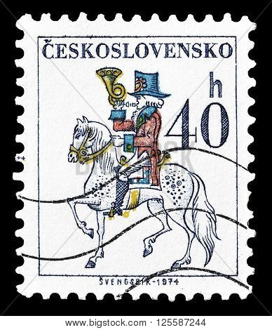 CZECHOSLOVAKIA - CIRCA 1974 : Cancelled postage stamp printed by Czechoslovakia, that shows Post rider.