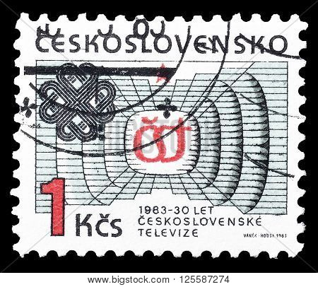 CZECHOSLOVAKIA - CIRCA 1983 : Cancelled postage stamp printed by Czechoslovakia, that shows Communications.