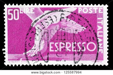 ITALY - CIRCA 1951 : Cancelled postage stamp printed by Italy, that shows winged foot.