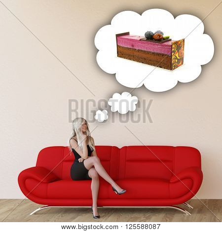 Woman Craving Cake and Thinking About Eating Food 3D Illustration Render