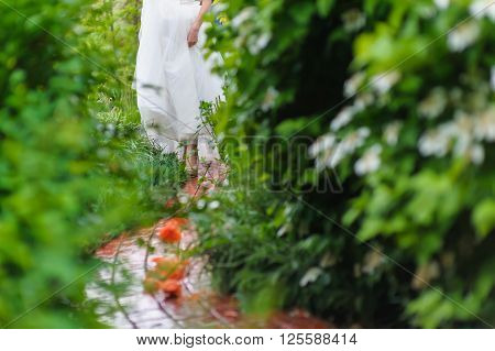 Bride among green bushes Woman in wedding white dress walking on a wet track the rain of red paving slabs.