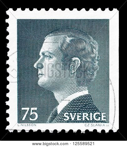 SWEDEN - CIRCA 1974 : Cancelled postage stamp printed by Sweden, that shows king Carl Gustaf.