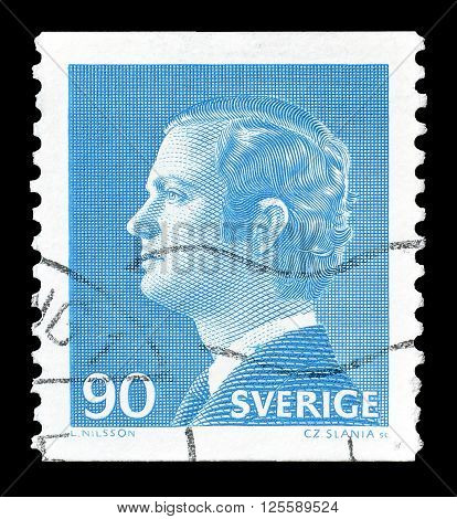SWEDEN - CIRCA 1975 : Cancelled postage stamp printed by Sweden, that shows king Carl Gustaf.