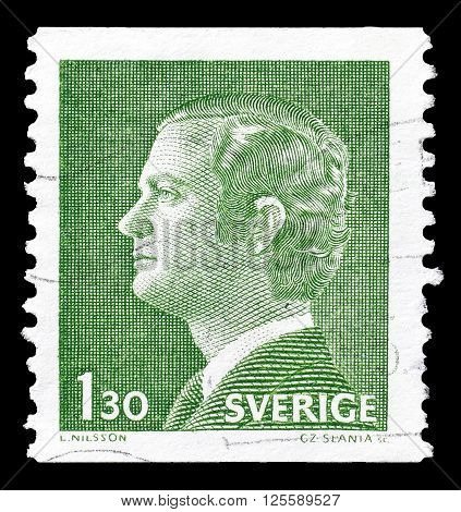 SWEDEN - CIRCA 1976 : Cancelled postage stamp printed by Sweden, that shows king Carl Gustaf.