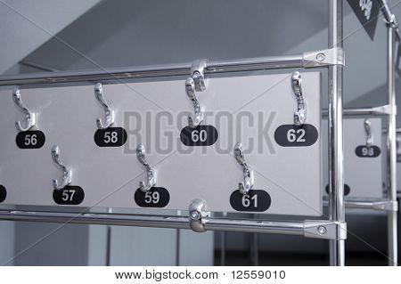 Rack of a coat in stadium