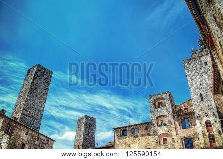 San Gimignano towers under a clear sky Italy