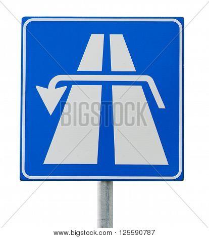 u turn road sign isolated on white background