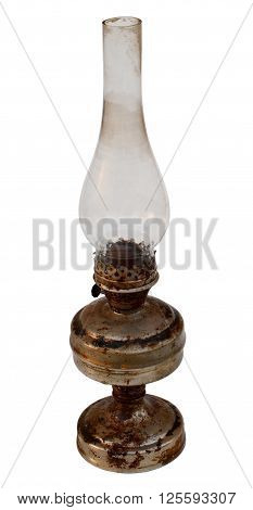 antique kerosene lamp with a glass bulb old