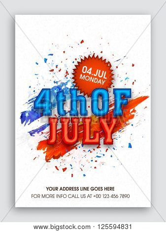 Pamphlet, Banner or Flyer design with Stylish text 4th of July for American Independence Day celebration.