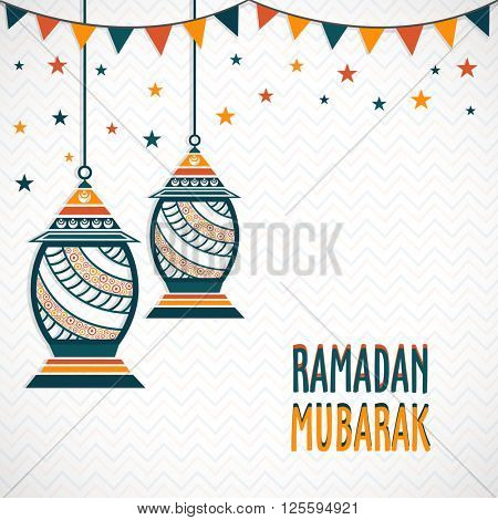 Elegant greeting card design decorated with floral hanging lamps for Holy Month of Muslim Community, Ramadan Mubarak celebration.
