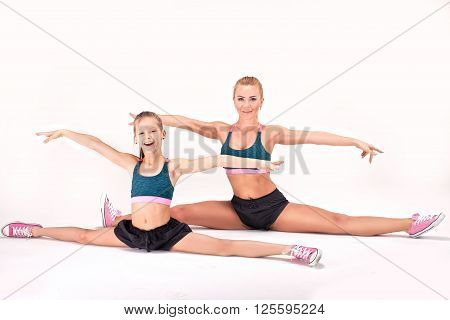 Mother And Daughter Exercise.