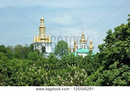 Gilded domes of Christian Orthdox churches of Kyiv Pechersk Lavra peek out from behind the blooming chestnut trees in Kyiv, Ukraine