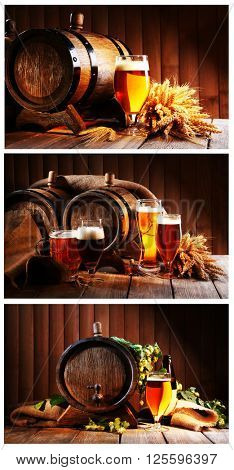 Collage with beer barrels and glasses on table on wooden background