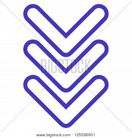 Triple Pointer Down vector icon. Style is outline icon symbol, violet color, white background.