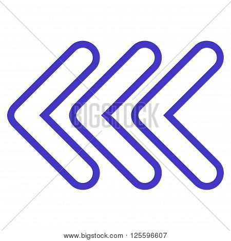 Triple Pointer Left vector icon. Style is stroke icon symbol, violet color, white background.