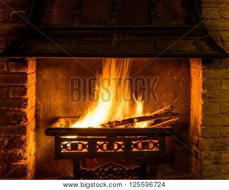 A log fire in a chimney