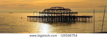 The West Pier at sunset in Brighton, UK