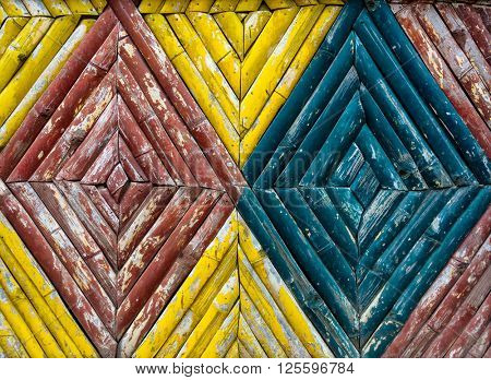 A colorful bamboo fence texture