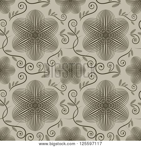 Seamless ornate wallpaper pattern with flower buds.