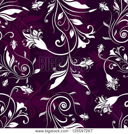 Seamless purple and white flowers retro pattern.