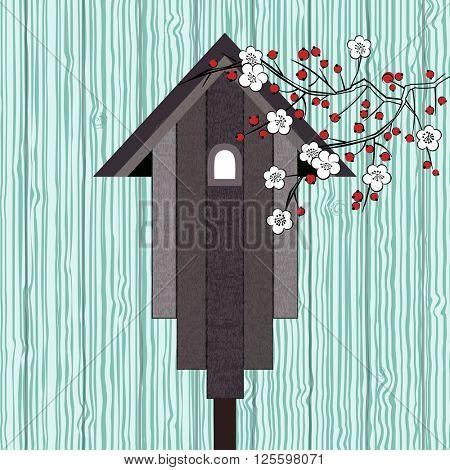 rustic birdhouse over boards