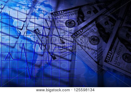 Cash on the world map and keyboard background, close up