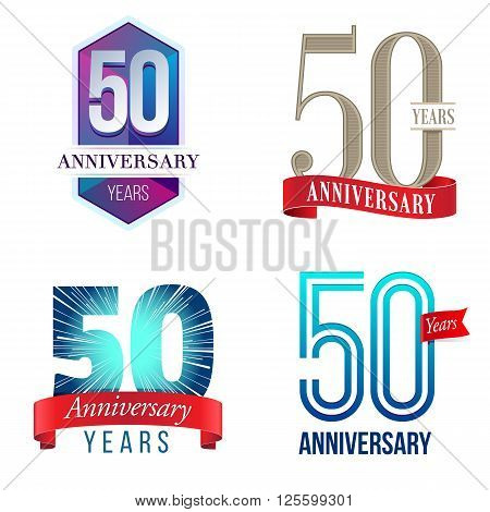 A Set of Symbols Representing a 50 Years Anniversary/Jubilee Celebration