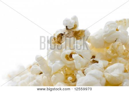 Popcorn isolated on a white background.Close-up image.