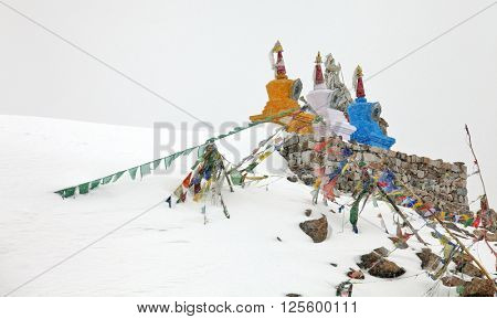 Stupas on Khardung La pass at 5450 m in the Himalayas (Buddhistic symbol) - Ladakh
