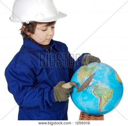 Adorable zukünftige Builder Erstellen der Welt