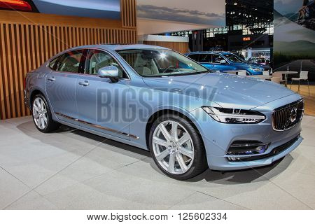 NEW YORK - March 23: A Volvo S 90 at the 2016 New York International Auto Show during Press day,  public show is running from March 25th through April 3, 2016 in New York, NY.