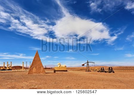 OUARZAZATE, MOROCCO - APRIL 18, 2015: Village decoration at the Atlas Corporation Film Studios in Morocco. Atlas Corporation Studios - one of the world's largest film studios