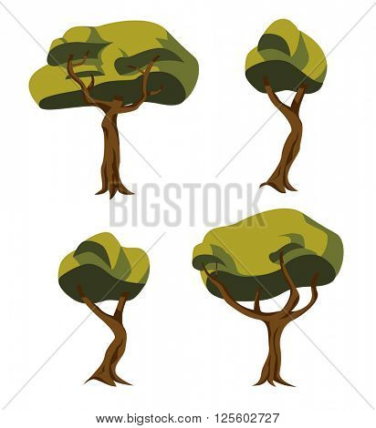 Collection of four tree illustrations in a unique cartoon style