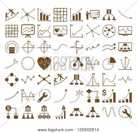 Business Charts With Rectangle Dots vector icons. Style is brown flat symbols on a white background.