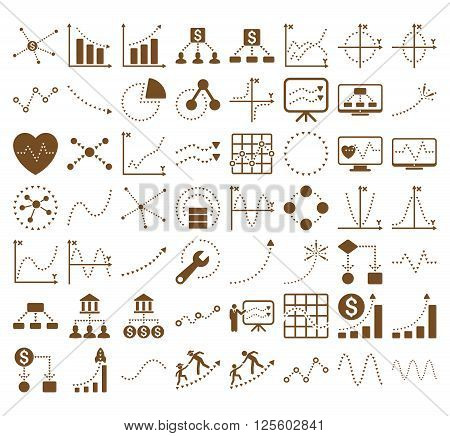 Business Charts With Triangle Dots vector icons. Style is brown flat symbols on a white background.