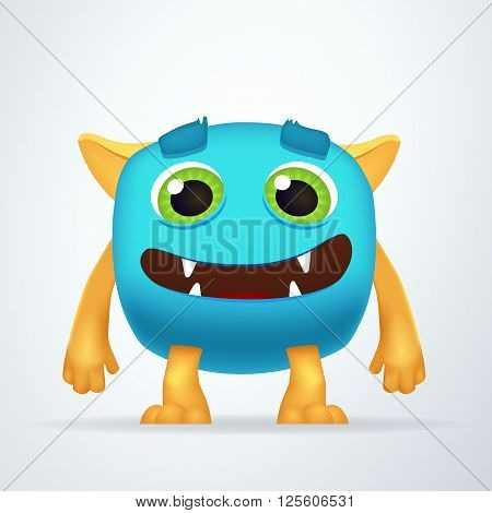 Cute colorful blue Ogre with silly smile and friendly eyes. Fun yeti creature isolated on white background