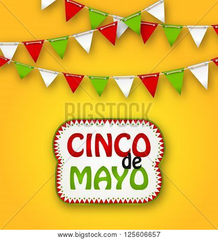 Illustration Cinco De Mayo Holiday Bunting Background. Mexican Poster - Vector