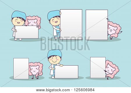 cute cartoon intestine and doctor with billboard great for health care concept