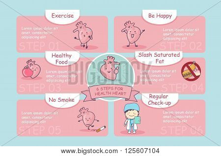 6 steps for health cute cartoon heart great for health care concept