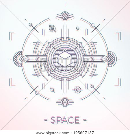 Colorful line geometric futuristic graphic design. Sci-Fi astro space illustration concept