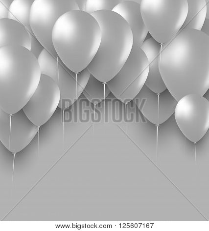 Illustration Holiday Background with White Balloons - Vector