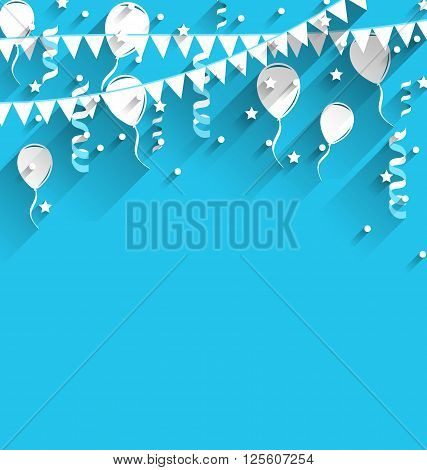 Illustration happy birthday background with balloons, stars and pennants, trendy flat style - vector