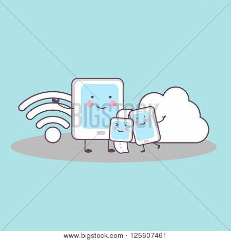 cute cartoon smart phone smart watchtablet pccloud computing and wifi icon great for your design