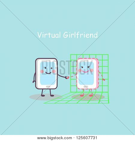 cute cartoon smartphone with virtual girlfriend great for your design
