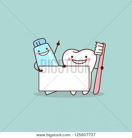 cute cartoon toothtoothpaste and tooth brush with billboard great for health dental care concept