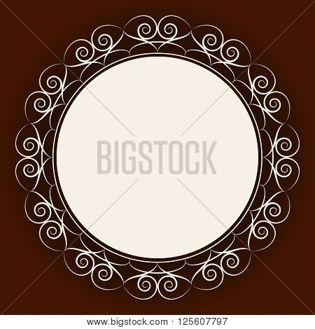 Abstract round frame with brown background.